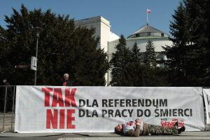 Związkowcy przed Sejmem
