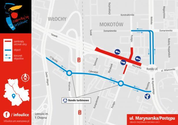 Marynarska - objazd zwezonego odcinka ulicy UM