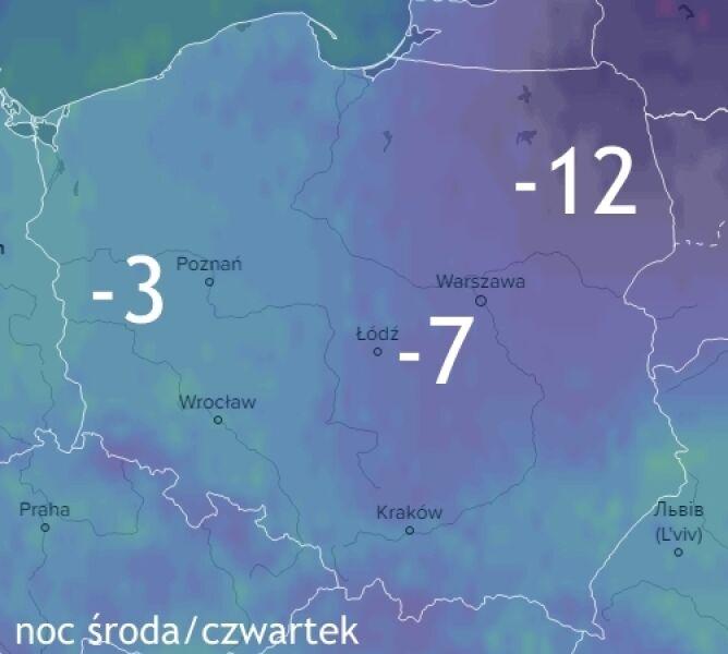Prognoza temperatury na noc środa/czwartek
