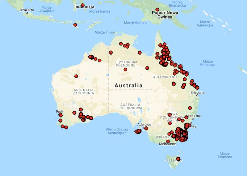 Pożary szalejące w Australii w ciągu ostatnich 12 godzin (myfirewatch.landgate.wa.gov.au)