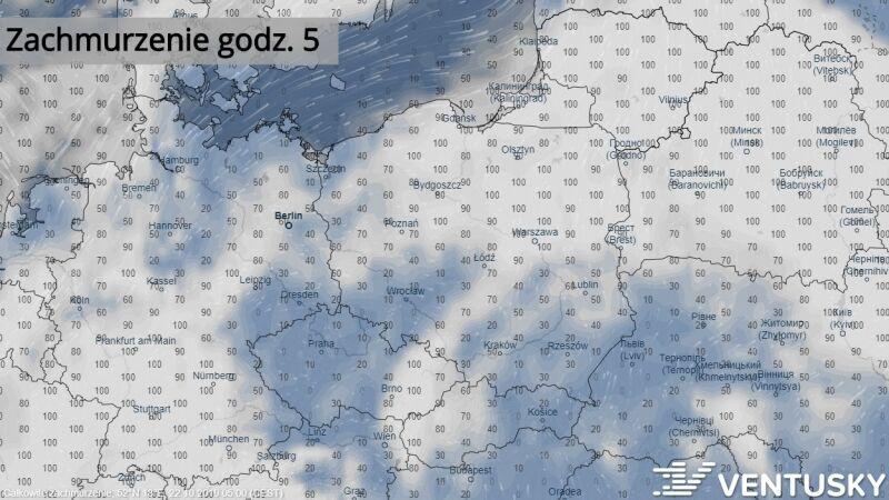 Prognozowane zachmurzenie w Polsce (Ventusky.com)