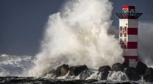 Wysokie fale u wybrzeża Holandii (PAP/EPA/KOEN VAN WEEL)